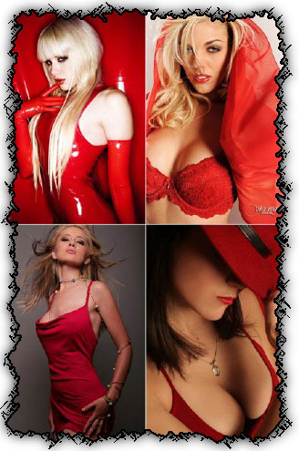 Ladies in red creative photo works