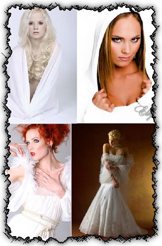 Ladies in white creative photo works