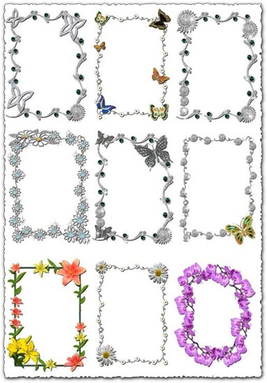 12 Photoshop flowers frames