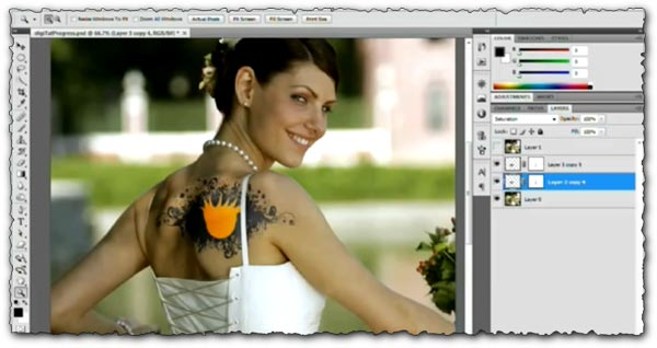 Photoshop tutorial Add or Remove Tattoos