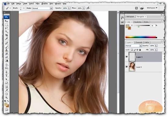 Photoshop tutorial Changing Hair Color Brunette to Blonde