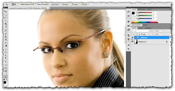 Photoshop tutorial How to remove glasses