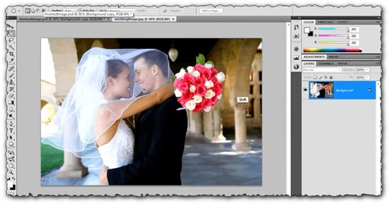 Photoshop tutorial Soft Focus Wedding Photograph Effect