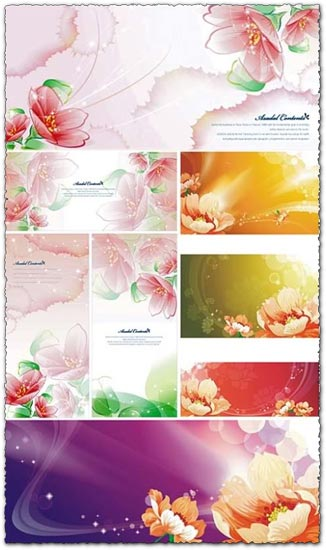Spring flower collection postcards
