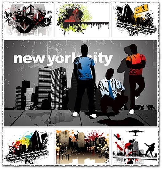 10 abstract city vectors