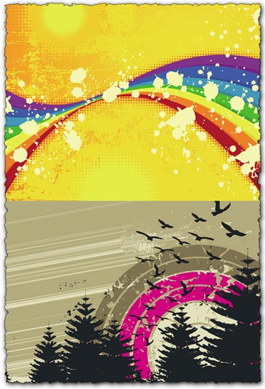 Grunge rainbow vectors