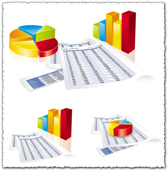 3 business charts vector templates