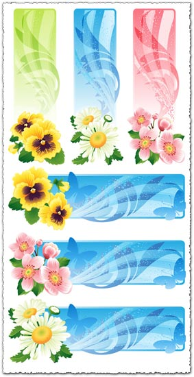 Abstract flower vector banners