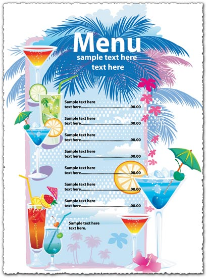 Drinks Menu Vector Template