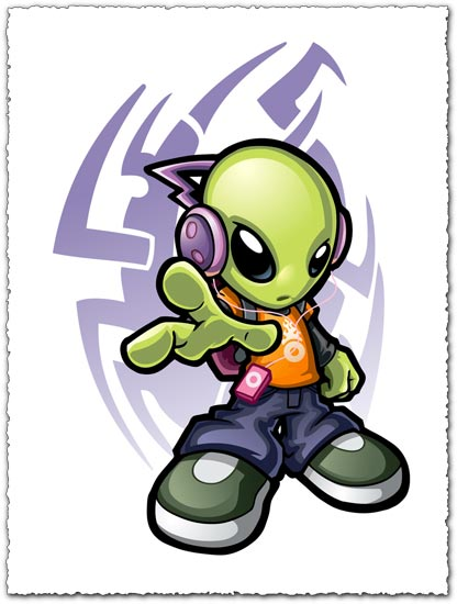 Alien listening music vector