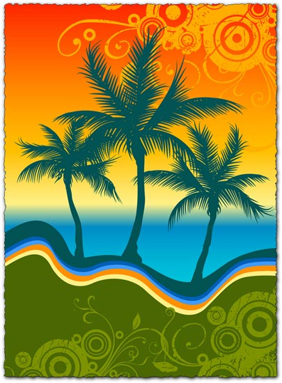 Colorful palm trees vector