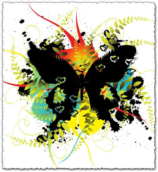 Colorful vector butterfly with floral design