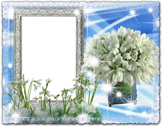 Delicate snowdrops psd photo frame