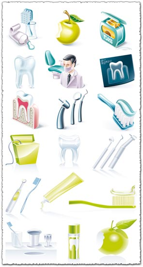 Dental icons vector elements