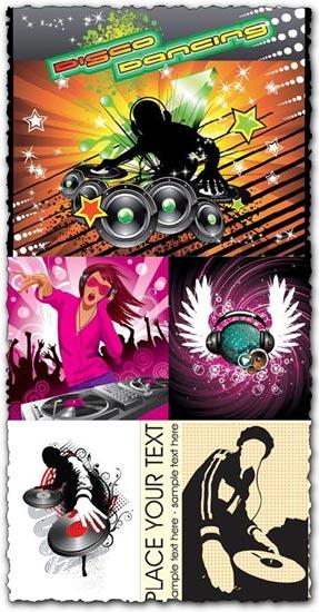 DJ posters vector templates