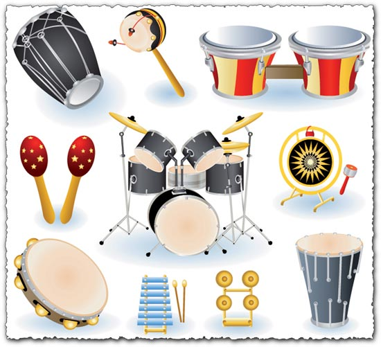 Drums collection music vectors