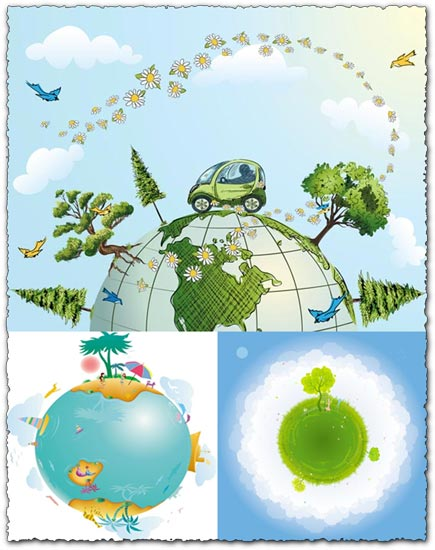 Eco globe vectors