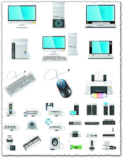 Electronics icons vector graphics