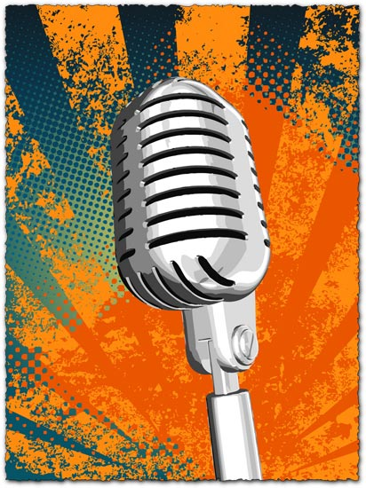 Grunge microphone vector design