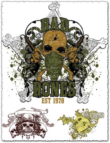 Grunge t-shirt skulls vectors