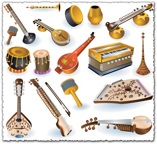 Indian music instruments vectors
