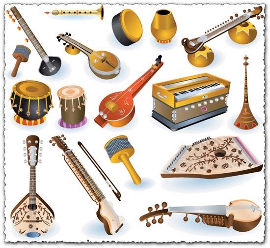 Indian music instruments vectors