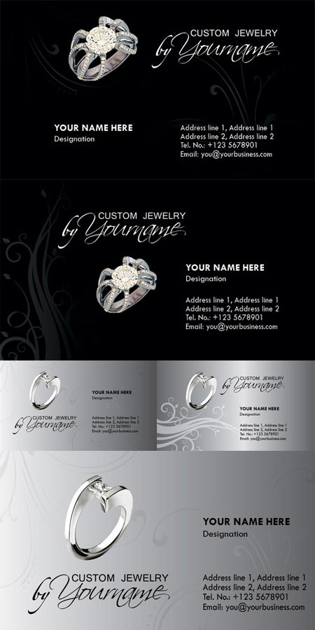 Jewelry business card photoshop templates for Free business card template photoshop