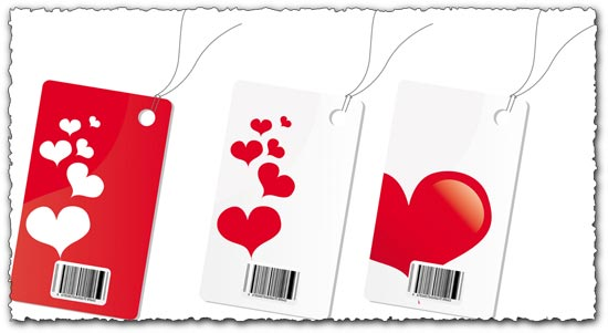 Labels with hearts vector