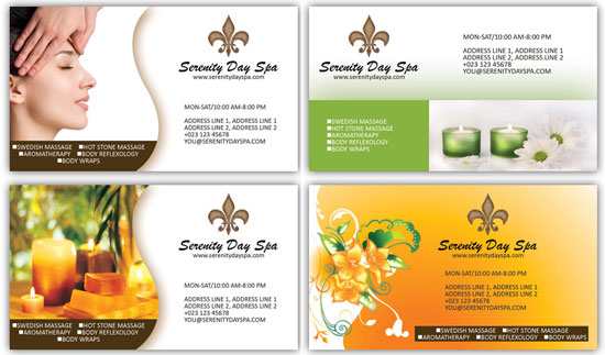 Massage and spa business card psd templates
