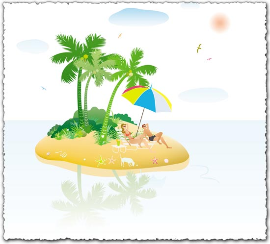 People relaxing on island beach vector
