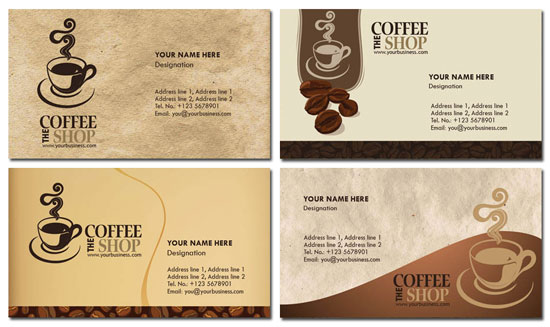Photoshop coffee business cards design wajeb