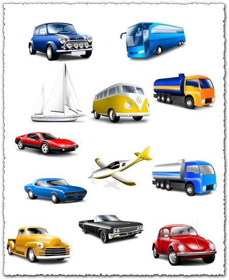 Transparent cars trucks and buses icons