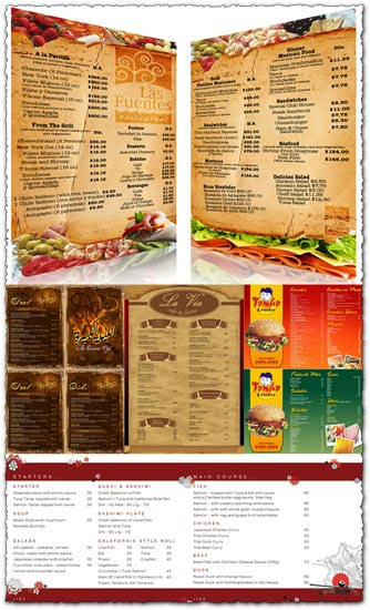 restaurant menu cards design