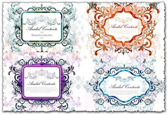 Romantic decorative banner vectors