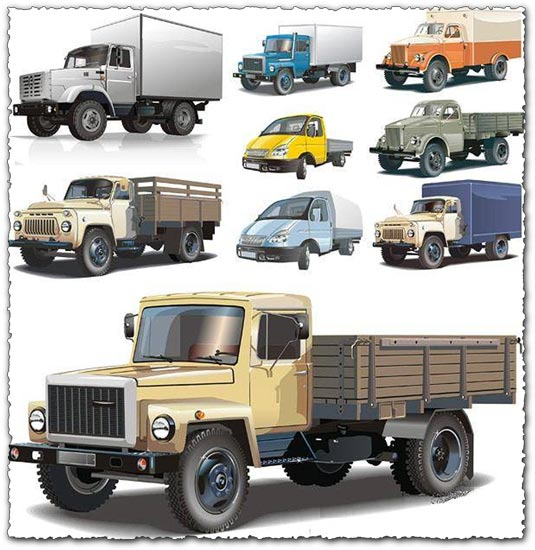 Russian big trucks and cars vectors