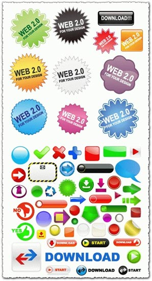 Vector web buttons and labels