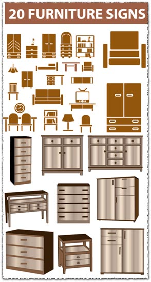 20 furniture vectors collection