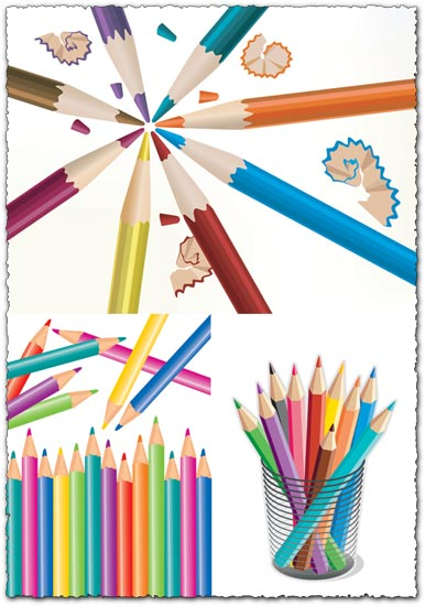 3 Colorful pencils vector