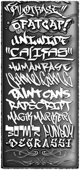 300 graffiti fonts collection