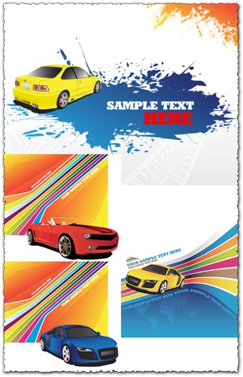4 Car banners vectors