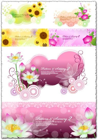 6 vector flower banners