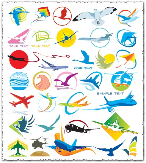 Airlines logo and icons vectors