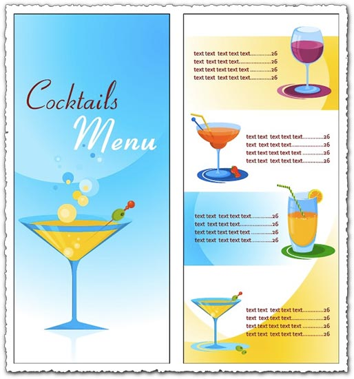 Cocktail menu vectors