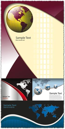 Globe vector card templates