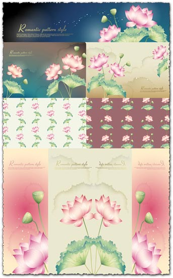Lotus background vector banners 1 Ai vector with jpg preview – 18.7 Mb