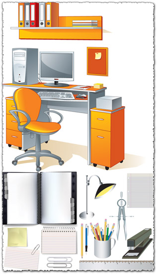 Office furniture and elements vectors
