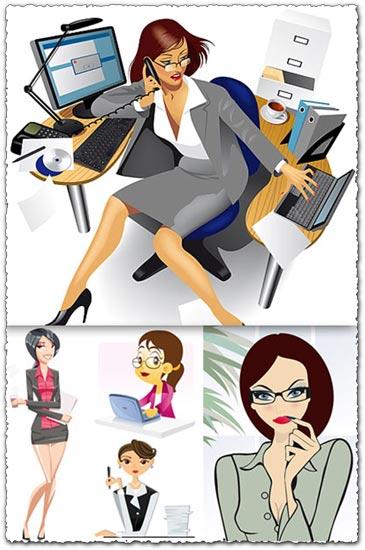 Office girls stock vectors