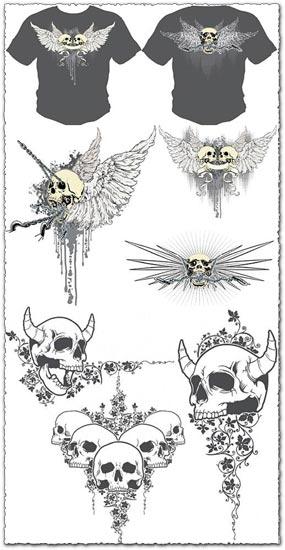 Skulls t-shirt vectors design