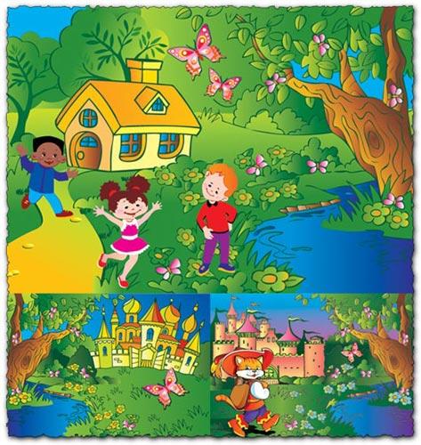 Vector postcards for kids