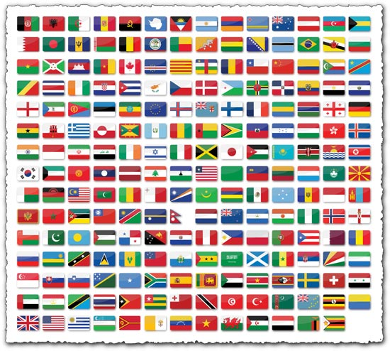 209 glossy world flags with shadow and round corners